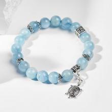 Vòng tay phong thủy nữ đá aquamarine charm rùa 6mm đường kính 5.5cm mệnh mộc , thủy - Ngọc Quý Gemstones