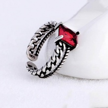 Nhẫn bạc thái đá đen - Tatiana - NB2332 (Đỏ)