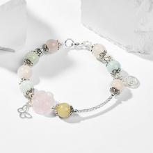 Vòng tay phong thủy đá beryl hoa mẫu đơn 9mm đường kính 5.5cm - Ngọc Quý Gemstones