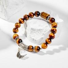 Vòng tay nữ đá mắt hổ vàng nâu phối charm bướm bạc 8mm mệnh thổ, kim - Ngọc Quý Gemstones