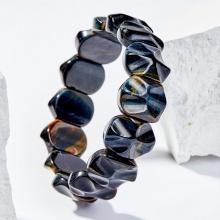 Vòng tay phong thủy đá mắt hổ xanh đen bản dày mệnh thủy , mộc - Ngọc Quý Gemstones