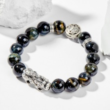 Vòng tay phong thủy đá mắt hổ xanh đen charm tỳ hưu 12mm mệnh thủy , mộc - Ngọc Quý Gemstones