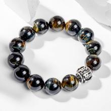 Vòng tay nam đá mắt hổ xanh đen phối charm bạc 16mm mệnh thủy, mộc - Ngọc Quý Gemstones