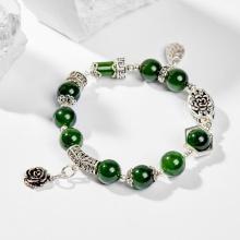 Vòng tay đá ngọc bích phối charm hoa 10mm mệnh hỏa, mộc - Ngọc Quý Gemstones