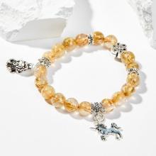 Vòng tay nữ đá thạch anh tóc vàng phối charm tỳ hưu và kỳ lân 8mm mệnh kim, mộc - Ngọc Quý Gemstones