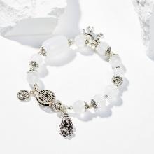 Vòng tay nữ đá thạch anh ưu linh trắng phối charm kỳ lân 8mm mệnh thủy, kim - Ngọc Quý Gemstones