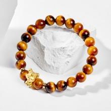 Vòng tay phong thủy đá mắt hổ charm bạc mạ vàng 24k tuổi tý mệnh thổ , kim - Ngọc Quý Gemstones