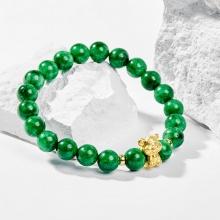 Vòng tay phong thủy đá cẩm thạch sơn thủy charm tuổi Dần bạc mạ vàng 24k 8mm - Ngọc Quý Gemstones