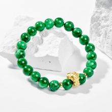 Vòng tay phong thủy đá cẩm thạch sơn thủy charm tuổi Thân bạc mạ vàng 24k 8mm  - Ngọc Quý Gemstones