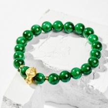 Vòng tay phong thủy đá cẩm thạch sơn thủy charm tuổi Tỵ bạc mạ vàng 24k 8mm - Ngọc Quý Gemstones