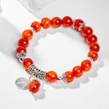 Vòng tay phong thủy 12 cung hoàng đạo đá mã não đỏ charm Bạch Dương 8mm mệnh Hỏa, Thổ - Ngọc Quý Gemstones