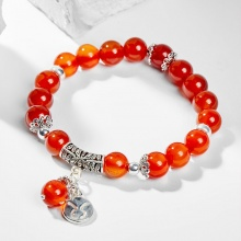Vòng tay phong thủy 12 cung hoàng đạo đá mã não đỏ charm Kim Ngưu 8mm mệnh Hỏa, Thổ - Ngọc Quý Gemstones
