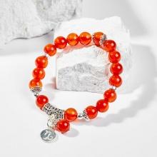 Vòng tay phong thủy 12 cung hoàng đạo đá mã não đỏ charm Ma Kết 8mm mệnh Hỏa, Thổ - Ngọc Quý Gemstones