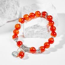 Vòng tay phong thủy 12 cung hoàng đạo đá mã não đỏ charm Nhân Mã 8mm mệnh Hỏa, Thổ - Ngọc Quý Gemstones