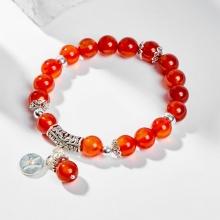 Vòng tay phong thủy 12 cung hoàng đạo đá mã não đỏ charm Song Ngư 8mm mệnh Hỏa, Thổ - Ngọc Quý Gemstones
