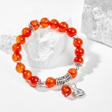 Vòng tay phong thủy 12 cung hoàng đạo đá mã não đỏ charm thiên bình 8mm mệnh hỏa , thổ - Ngọc Quý Gemstones