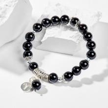 Vòng tay phong thủy 12 cung hoàng đạo đá obsidian charm Bạch Dương 8mm mệnh Thủy, Mộc - Ngọc Quý Gemstones