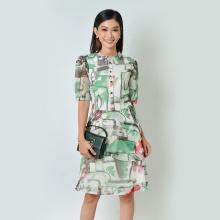 Đầm xòe thời trang Eden họa tiết tay lỡ màu xanh - D369