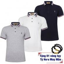 Bộ 3 áo thun nam cổ bẻ cotton thoáng mát phối bo độc đáo Pigofashion AHT07 xanh đen,trắng,Xám tặng 1 vòng tùy hưu