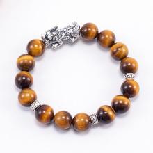 Vòng tay phong thủy đá mắt hổ vàng nâu charm tỳ hưu 10mm mệnh thổ , kim - Ngọc Quý Gemstones