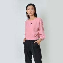 Áo công sở thời trang Eden tay dài phối nút màu hồng - ASM039