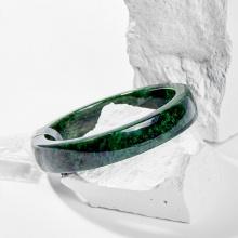 Vòng tay phong thủy đá cẩm thạch sơn thủy nguyên khối 53mm kiểm định pnj mệnh hỏa , mộc - Ngọc Quý Gemstones