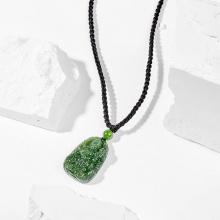 Dây chuyền phong thủy đá ngọc bích phổ hiền bồ tát tuổi thìn , tỵ 3x2cm mệnh hỏa , mộc - Ngọc Quý Gemstones