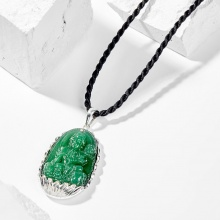 Dây chuyền phong thủy đá ngọc tủy xanh phổ hiền bồ tát tuổi thìn , tỵ 4x2.5cm mệnh mộc - Ngọc Quý Gemstones