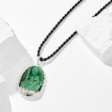 Dây chuyền phong thủy đá ngọc tủy xanh văn thù bồ tát tuổi mão 4x2.5cm mệnh mộc - Ngọc Quý Gemstones