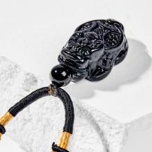 Dây chuyền phong thủy đá obsidian mặt long quy 3cm mệnh thủy , mộc - Ngọc Quý Gemstones