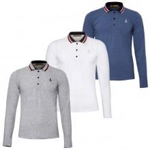 Bộ 3 áo thun nam polo phối bo dài tay chuẩn phong cách Pigofashion PG17 trắng, vịt, xám