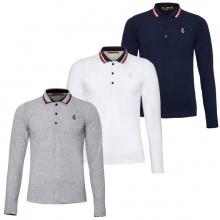Bộ 3 áo thun nam polo phối bo dài tay chuẩn phong cách Pigofashion PG17 trắng, xám, xanh đen