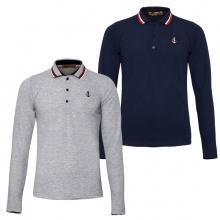 Bộ 2 áo thun nam polo phối bo dài tay chuẩn phong cách Pigofashion PG17 xám, xanh đen