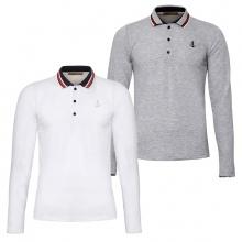 Bộ 2 áo thun nam polo phối bo dài tay chuẩn phong cách Pigofashion PG17 xám, trắng
