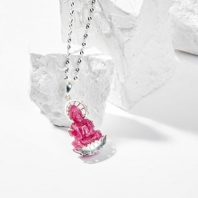 Dây chuyền phong thủy đá ruby bọc bạc mặt phật bà quan âm 3.2cm mệnh thủy , hỏa , thổ - Ngọc Quý Gemstones