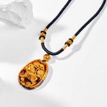 Dây chuyền phong thủy đá mắt hổ mặt tỳ hưu 4.3cm mệnh thổ , kim - Ngọc Quý Gemstones