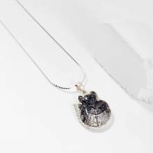 Dây chuyền phong thủy đá thạch anh tóc đen cửu vỹ hồ ly 2.8cm mệnh thủy , mộc - Ngọc Quý Gemstones