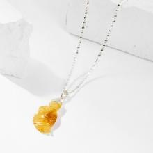 Dây chuyền phong thủy đá thạch anh tóc vàng cửu vỹ hồ ly 3cm mệnh thổ , kim - Ngọc Quý Gemstones