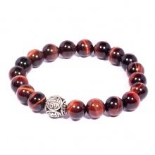 Vòng tay đá Mắt hổ đỏ tự nhiên phối charm bạc Thái cao cấp BRTIGS03 - Vietgemstones