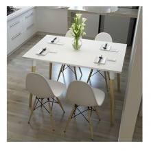 Bộ bàn ghế ăn tối giản kiểu Bắc Âu - trắng