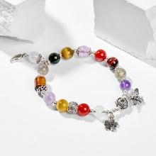 Vòng tay nữ đá thiên nhiên đa sắc phối charm ong 8mm - Ngọc Quý Gemstones