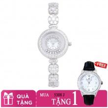 Mua 1 tặng 1- Mua đồng hồ nữ chính hãng Royal Crown 5308 dây đá vỏ trắng tặng đồng hồ TATEOSSIAN