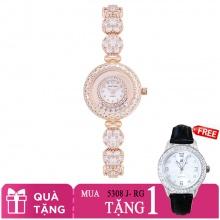 Mua 1 tặng 1- Mua đồng hồ nữ chính hãng Royal Crown 5308 dây đá vàng hồng tặng đồng hồ TATEOSSIAN