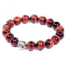 Vòng tay đá Mắt hổ đỏ tự nhiên phối charm bạc Thái cao cấp BRTIGS04 - Vietgemstones