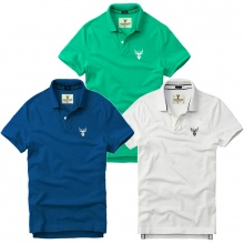 Bộ 3 áo thun nam cổ bẻ basic chuẩn mọi lứa tuổi pigofashion PG01 trắng, xanh công, xanh vịt
