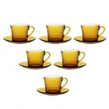 Bộ tách và dĩa thủy tinh chịu lực Duralex lys hổ phách 180 ml (bộ 6 ly và 6 dĩa)