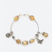 Vòng tay phong thủy nữ đá thạch anh tóc vàng mix charm bướm 8mm mệnh thổ , kim - Ngọc Quý Gemstones
