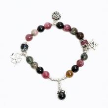 Vòng tay phong thủy nữ đá tourmaline đa sắc charm trái tim 6mm - Ngọc Quý Gemstones