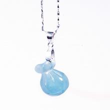 Dây chuyền túi tiền may mắn tài lộc hải lam ngọc Aquamarine tự nhiên PDMAQU01 - VietGemstones