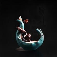 Thác khói liên hoa xanh 01 - tặng kèm 10 nụ búp sen trầm hương - nhang thiền